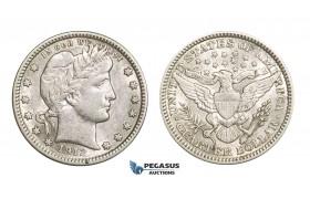 AA723, United States, Barber Quarter (25C) 1912, Philadelphia, Silver, White XF-AU
