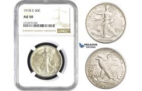 AA724, United States, Walking Liberty Half Dollar (50C) 1918-S, San Francisco, Silver, NGC AU50