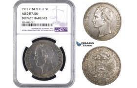 AA725, Venezuela, 5 Bolivares 1911, Paris, Silver, NGC AU Det.