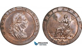 """AC106, Great Britain, George III, """"Cartwheel"""" Penny 1797-Soho, Stained, Lustrous AU-UNC"""