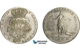 AD625, Malta, Emmanuel Pinto, 30 Tari 1759, Valetta, Silver (29.39g) Cleaned VF-XF, Rare!