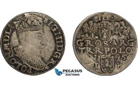 AD636, Poland, Sigismund III, 3 Groschen (Trojak) 1595 I/F, Olkusz, Silver (2.22g) Toned VF