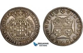 AD639, Portugal, João, Prince regent, 400 Reis 1823, Lisbon, Silver, Toned AU+