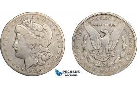 AD643, United States, Morgan Dollar 1893-CC, Carson City, Silver, Fine, Rare!