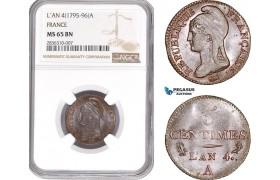 AE212, France, First Republic, 5 Centimes L'An 4-A, Paris, NGC MS65BN, Top Pop!