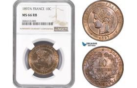 AE214, France, Third Republic, 10 Centimes 1897-A, Paris, NGC MS66RB, Pop 2/0