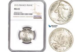 AE215, France, Third Republic, Franc 1915, Paris, Silver, NGC MS65