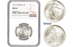AE216, France, Third Republic, 2 Francs 1917, Paris, Silver, NGC MS64