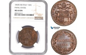 AE217, Italy, Papal, Gregory XVI, Baiocco 1843-R, XIII, Rome, NGC MS64BN
