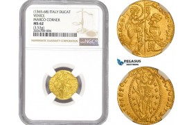 AE218, Italy, Venice, Marco Corner, Ducat ND (1365-68) Gold (3.53g) NGC MS62
