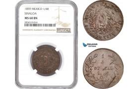 AE219, Mexico, Sinaloa, 1/4 Real 1859, NGC MS60BN, Pop 1/3