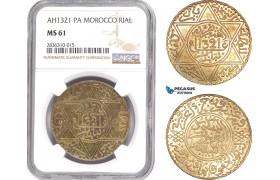 AE220, Morocco, Abd al-Aziz, 1 Rial AH1321-Pa, Paris, Silver, NGC MS61
