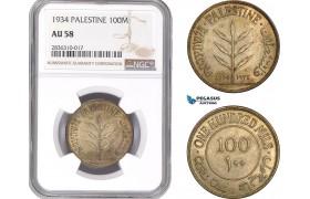 AE222, Palestine, 100 Mils 1934, London, Silver, NGC AU58, Rare!