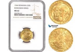 "AE223, Romania, Mihai I, 20 Lei 1944 ""Ardealul Nostru"" Gold, NGC MS62"