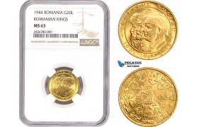 "AE224, Romania, Mihai I, 20 Lei 1944 ""Ardealul Nostru"" Gold, NGC MS63"