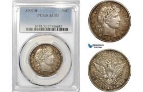 AE233-R, United States, Barber Half Dollar (50C) 1900-S, San Francisco, Silver, PCGS AU53