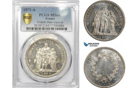 AE311, France, Third Republic, 5 Francs 1871-A, Paris, Silver, Trident, Date Espacée, PCGS MS64, Prooflike, Pop 1/0, Rare!