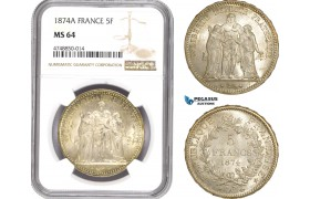 AE312, France, Third Republic, 5 Francs 1874-A, Paris, Silver, NGC MS64