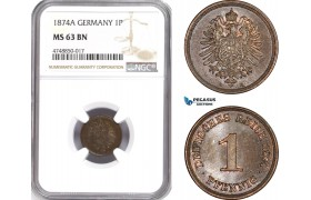AE314, Germany, Empire, 1 Pfennig 1874-A, Berlin, NGC MS63BN