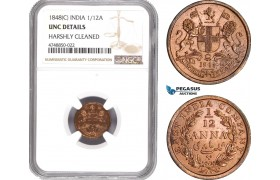 AE322, India (British) 1/12 Anna 1848 (C) Calcutta, NGC UNC Det.