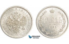 AE383, Russia, Alexander III, Rouble 1885 СПБ-АГ, St. Petersburg, Silver, Cleaned AU-UNC, Small edge damages