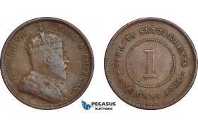 AE384, Straits Settlements, Edward VII, 1 Cent 1906, F-VF, Rare!