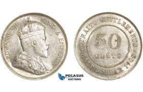 AE385, Straits Settlements, Edward VII, 50 Cents 1908, Silver, Lustrous XF-AU