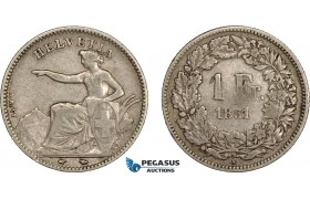 AE387, Switzerland, 1 Franc 1851-A, Paris, Silver, Fine