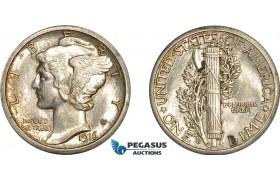 AE390, United States, Mercury Dime (10c) 1916-S, San Francisco, Silver, Lustrous UNC