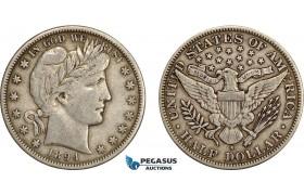 AE391, United States, Barber Half Dollar (50c) 1894-S, San Francisco, Silver, VF