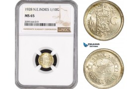 AE549, Netherlands East Indies, 1/10 Gulden 1928, Silver, NGC MS65