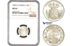 AE550, Netherlands East Indies, 1/4 Gulden 1890, Silver, NGC MS64, Pop 1/0, Prooflike!
