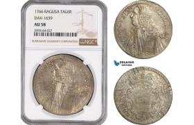 AE557, Ragusa, Tallero Rettorale 1766 GB, Silver, NGC AU58