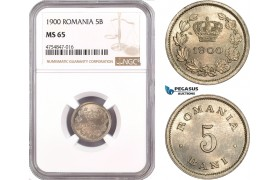 AE559, Romania, Carol I, 5 Bani 1900, Brussels, NGC MS65