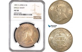 "AE572, South Africa (ZAR) 5 Shillings 1892, Berlin, Silver ""Single Shaft"" NGC AU58"