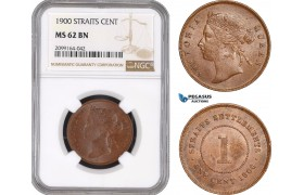 AE575, Straits Settlements, Victoria, 1 Cent 1900, NGC MS62