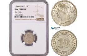 AE576, Straits Settlements, Victoria, 10 Cents 1896, Silver, NGC UNC Det.
