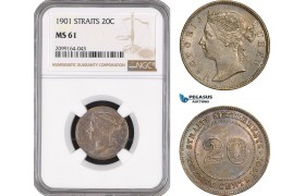 AE577, Straits Settlements, Victoria, 20 Cents 1901, Silver, NGC MS61