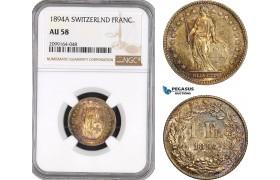 AE581, Switzerland, 1 Franc 1894-A, Paris, Silver, NGC AU58