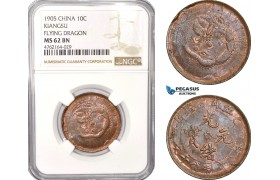 AE783, China, Kiangsu, 10 Cash 1905, Flying Dragon, NGC MS62BN