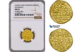 AE784, Ottoman Empire, Egypt, Suleyman, Sultani AH926 (1520) Misr, Gold (3.46g) NGC MS62, Pop 1/0