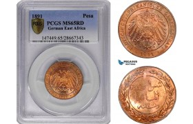 AE786, German East Africa (DOA) Pesa 1891, PCGS MS65RD