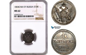 AE791, Russia, Alexander I, 10 Kopeks 1804 СПБ-ФГ, St. Petersburg, Silver, NGC MS62, Pop 1/0