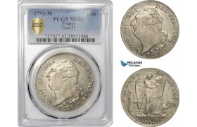 AE799, France, Louis XVI, Ecu 1793-M, Toulouse, Silver, PCGS MS62, Pop 1/0