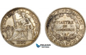 AF014, French Indo-China, Piastre 1900-A, Paris, Silver, Stained XF