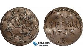 AF018, Germany, Rostock, 1 Pfennig 1757, AU Brown