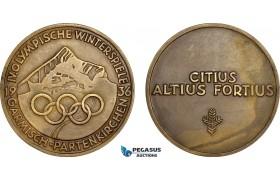 AF019, Germany, Third Reich, Garmisch - Partenkirchen, Winter Olympics Bronze Participation Medal 1936 (Ø60mm, 72.2g) AU, Rare!