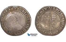 AF021, Great Britain, Elisabeth I, Hammered Shilling ND (1560/1) London, 2nd issue (5.48g) S-2555, VG-F