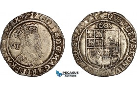 AF022, Great Britain, James I, Sixpence 1605, Silver (2.73g) Rose mm., S-2657, F-VF