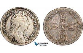AF023, Great Britain, William III, Shilling 1696, Silver, S-3503, F-VF